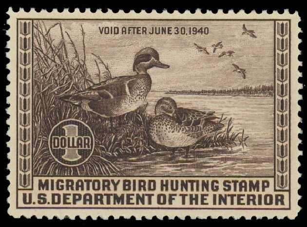 US Stamp Values Scott Cat. #RW6: 1939 US$1.00 Federal Duck Hunting. Daniel Kelleher Auctions, Oct 2011, Sale 626, Lot 682