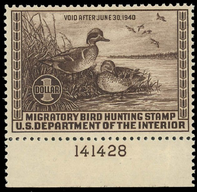 Value of US Stamps Scott #RW6 - 1939 US$1.00 Federal Duck Hunting. Daniel Kelleher Auctions, Aug 2012, Sale 631, Lot 1862