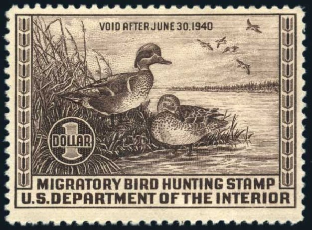 Prices of US Stamps Scott Catalogue #RW6: 1939 US$1.00 Federal Duck Hunting. Harmer-Schau Auction Galleries, Jun 2008, Sale 78, Lot 1813