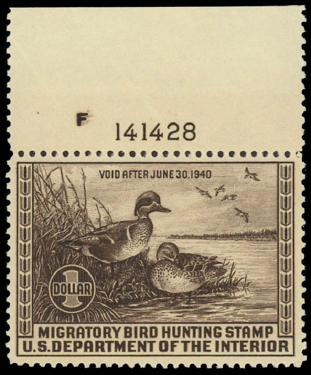 Values of US Stamps Scott Catalogue #RW6: US$1.00 1939 Federal Duck Hunting. Daniel Kelleher Auctions, Jun 2012, Sale 630, Lot 2163