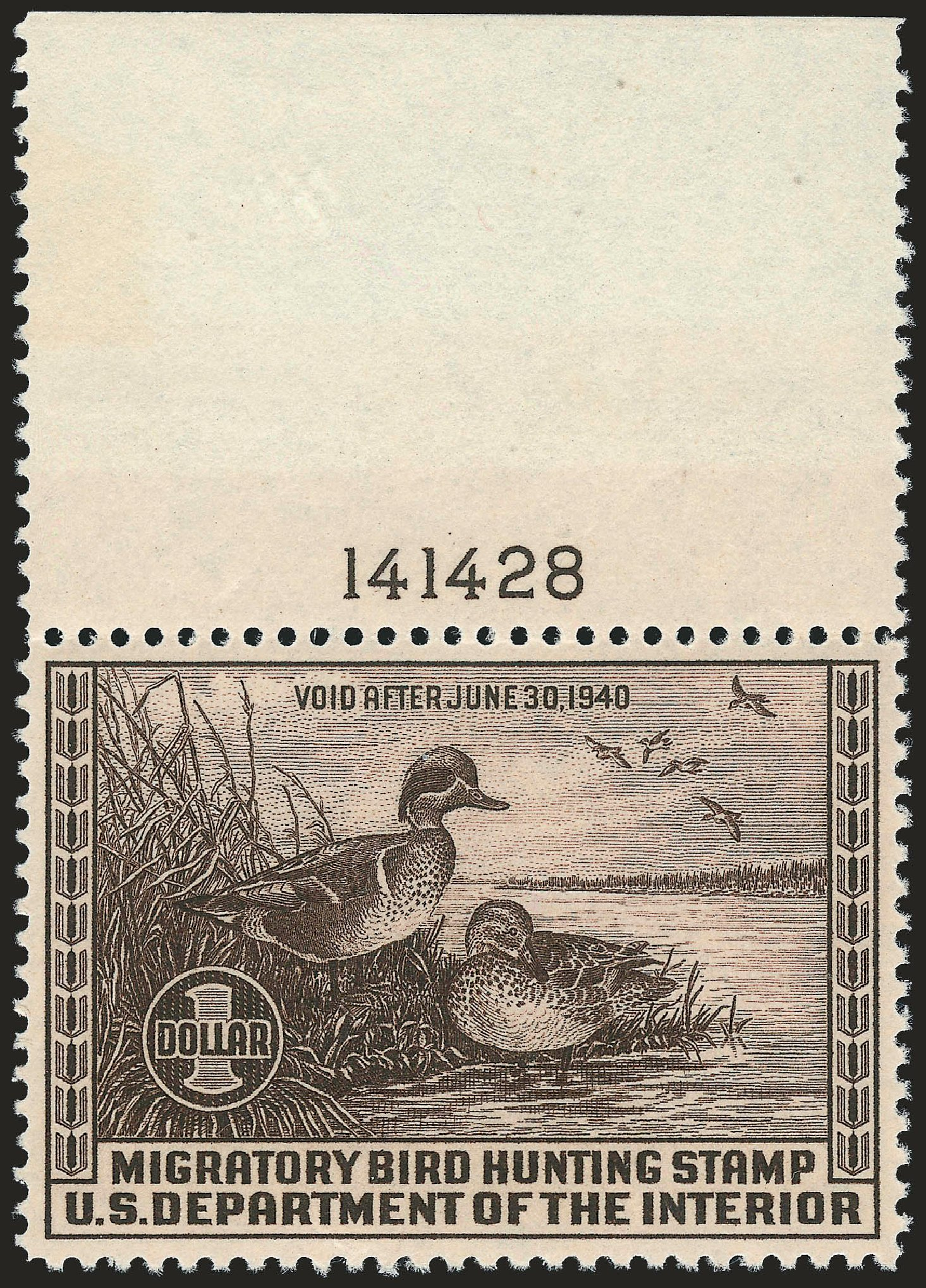 Prices of US Stamps Scott RW6 - US$1.00 1939 Federal Duck Hunting. Robert Siegel Auction Galleries, Apr 2010, Sale 984, Lot 1223