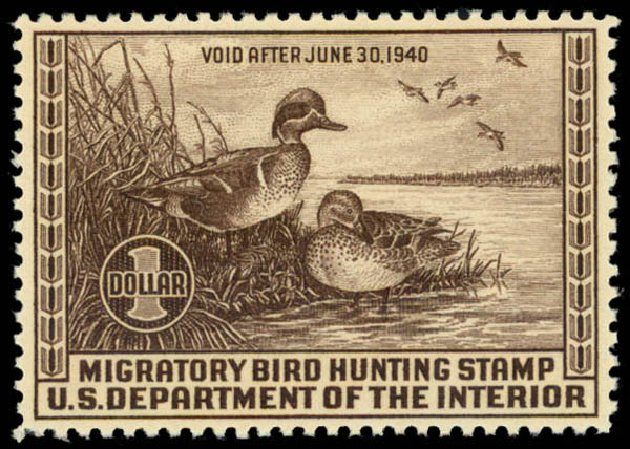 Costs of US Stamp Scott Catalogue #RW6: 1939 US$1.00 Federal Duck Hunting. Daniel Kelleher Auctions, May 2014, Sale 653, Lot 2346