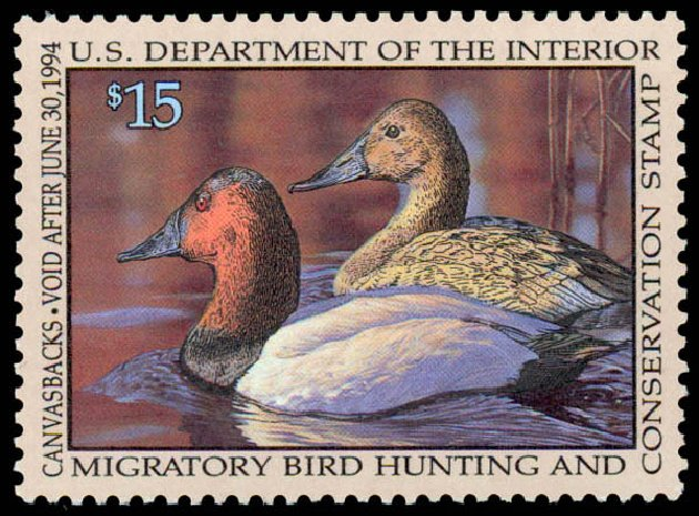 Price of US Stamps Scott Catalogue #RW60: US$15.00 1993 Federal Duck Hunting. Daniel Kelleher Auctions, May 2014, Sale 653, Lot 2380
