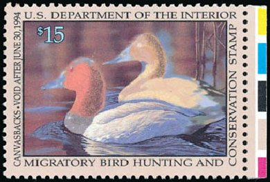 US Stamp Value Scott Cat. #RW60: US$15.00 1993 Federal Duck Hunting. Schuyler J. Rumsey Philatelic Auctions, Apr 2015, Sale 60, Lot 2704