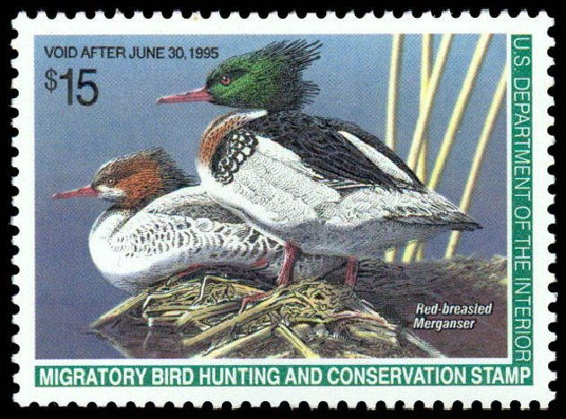 Values of US Stamps Scott Cat. RW61 - 1994 US$15.00 Federal Duck Hunting. Daniel Kelleher Auctions, May 2014, Sale 653, Lot 2381