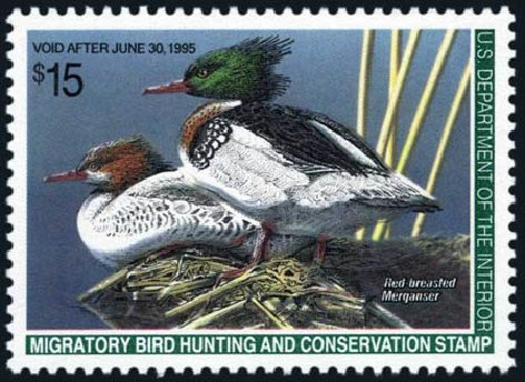 Values of US Stamps Scott Catalogue #RW61 - US$15.00 1994 Federal Duck Hunting. Harmer-Schau Auction Galleries, Aug 2011, Sale 90, Lot 2073