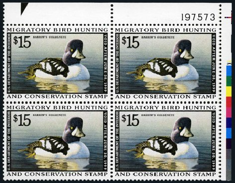 Cost of US Stamp Scott Catalogue #RW65: US$15.00 1998 Federal Duck Hunting. Harmer-Schau Auction Galleries, Apr 2008, Sale 77, Lot 163