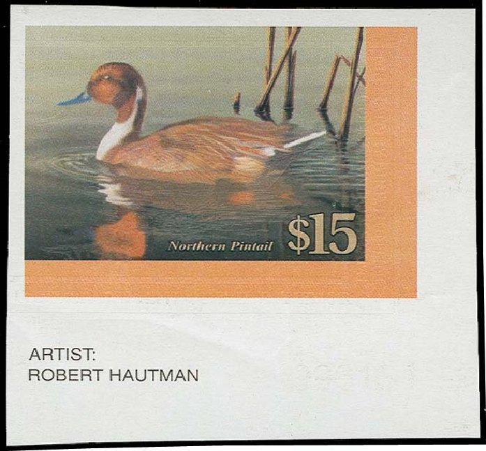 Value of US Stamp Scott Cat. # RW68: 2001 US$15.00 Federal Duck Hunting. H.R. Harmer, Oct 2014, Sale 3006, Lot 1454