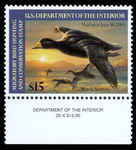 Costs of US Stamp Scott RW69 - 2002 US$15.00 Federal Duck Hunting. Daniel Kelleher Auctions, Sep 2013, Sale 639, Lot 3857