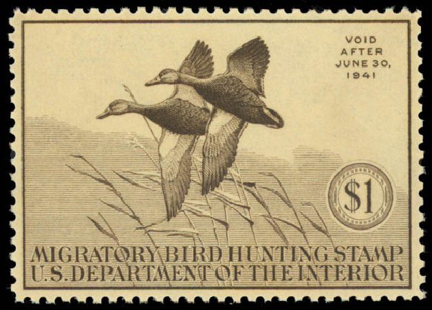 Price of US Stamps Scott Catalog #RW7: US$1.00 1940 Federal Duck Hunting. Daniel Kelleher Auctions, May 2014, Sale 653, Lot 2347