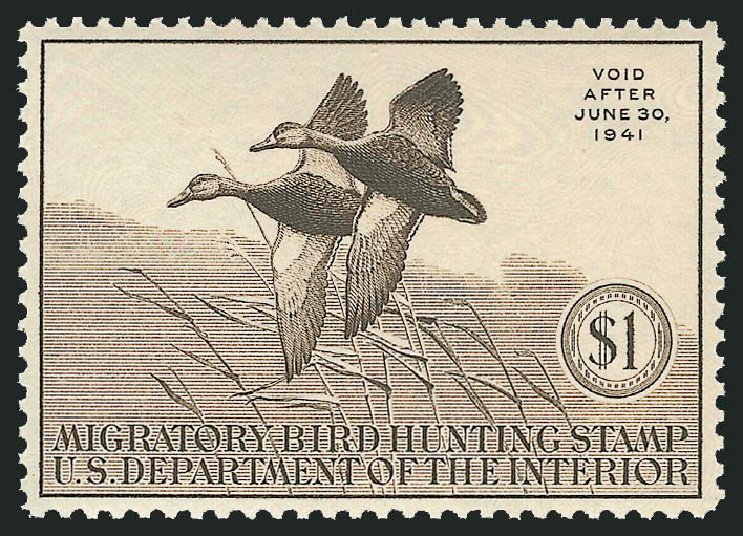 Cost of US Stamp Scott Cat. RW7: US$1.00 1940 Federal Duck Hunting. Robert Siegel Auction Galleries, Nov 2013, Sale 1061, Lot 4517