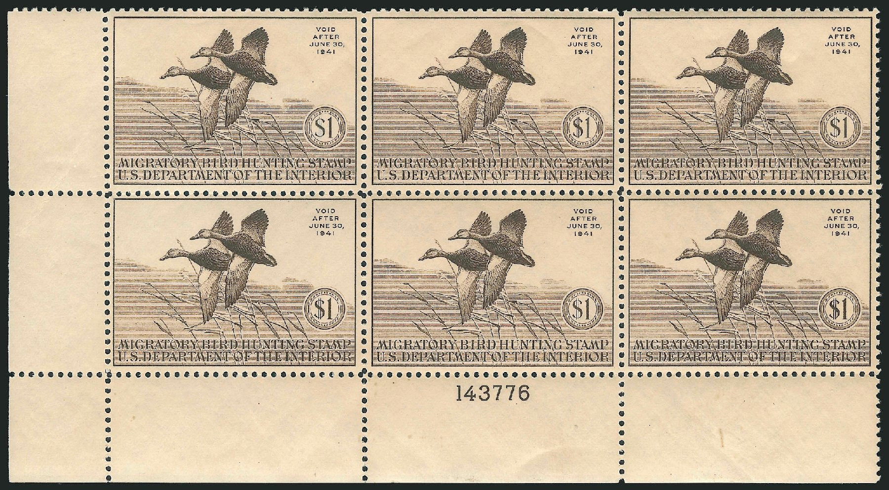 Values of US Stamp Scott # RW7 - US$1.00 1940 Federal Duck Hunting. Robert Siegel Auction Galleries, Apr 2014, Sale 1068, Lot 447
