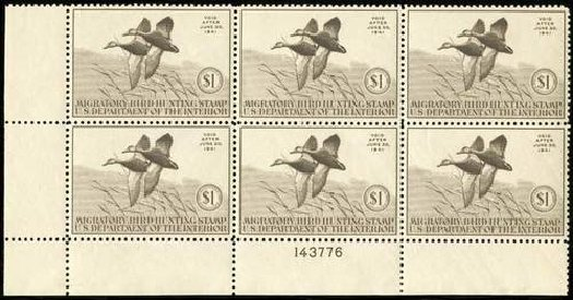Cost of US Stamp Scott Catalog RW7: US$1.00 1940 Federal Duck Hunting. Spink Shreves Galleries, Jul 2015, Sale 151, Lot 427