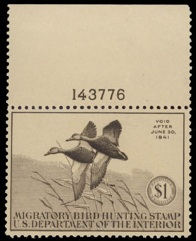 US Stamp Price Scott Catalogue RW7 - US$1.00 1940 Federal Duck Hunting. Daniel Kelleher Auctions, May 2015, Sale 669, Lot 3578