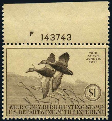 Cost of US Stamps Scott Cat. # RW7: 1940 US$1.00 Federal Duck Hunting. Harmer-Schau Auction Galleries, May 2012, Sale 93, Lot 509