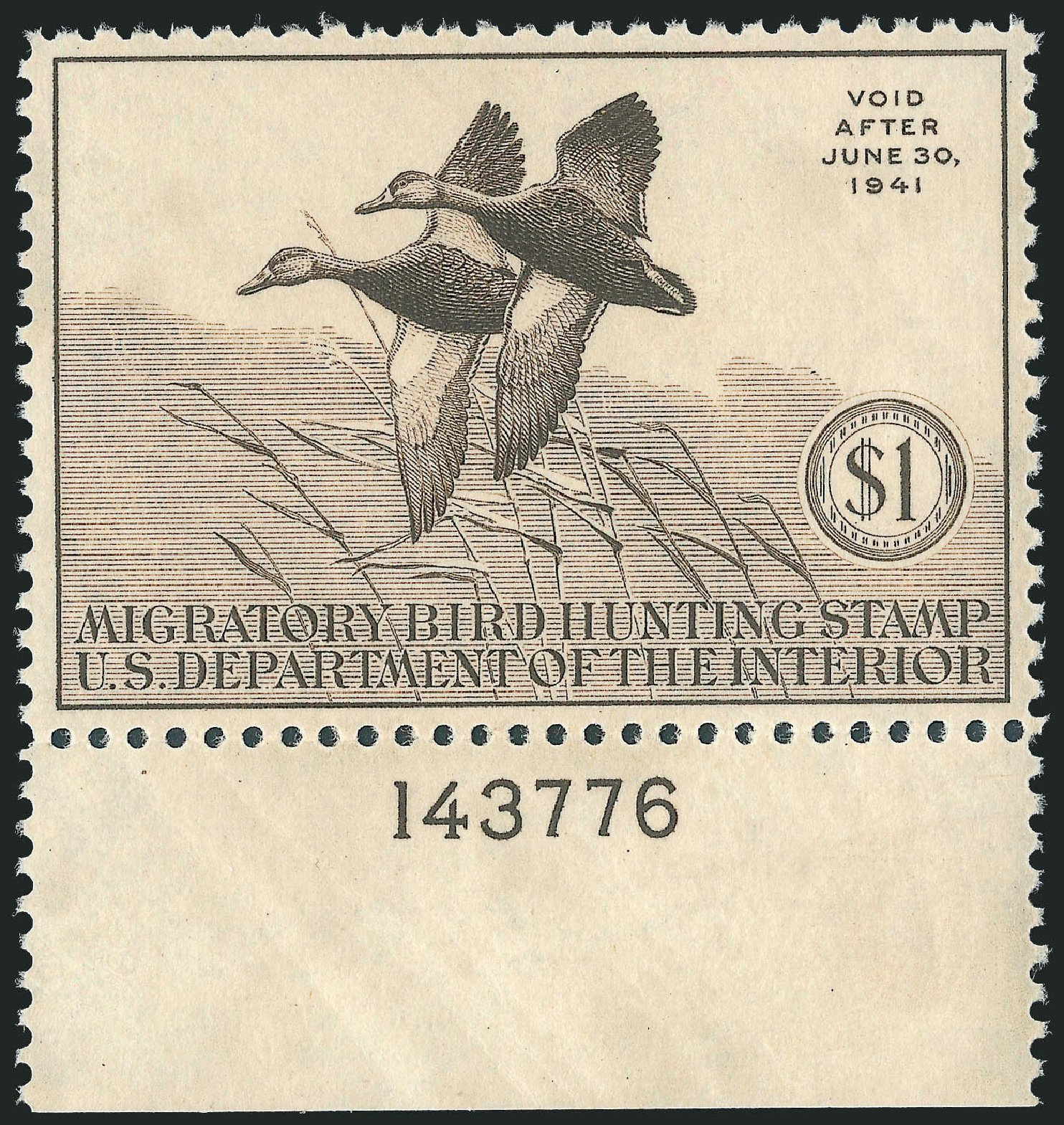 Price of US Stamps Scott #RW7 - 1940 US$1.00 Federal Duck Hunting. Robert Siegel Auction Galleries, Oct 2012, Sale 1033, Lot 4369