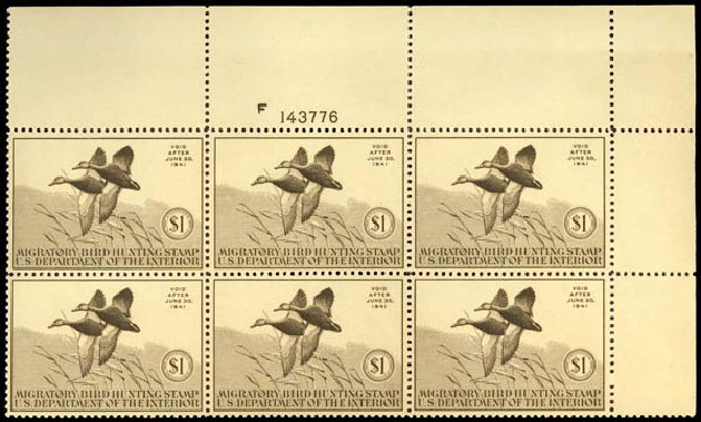 Costs of US Stamps Scott Catalog #RW7 - US$1.00 1940 Federal Duck Hunting. Daniel Kelleher Auctions, Sep 2013, Sale 639, Lot 3850