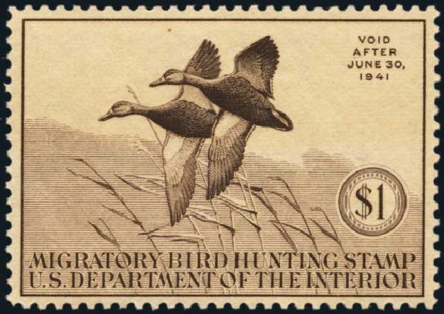 Value of US Stamp Scott Catalogue RW7: 1940 US$1.00 Federal Duck Hunting. Harmer-Schau Auction Galleries, Jan 2014, Sale 100, Lot 741
