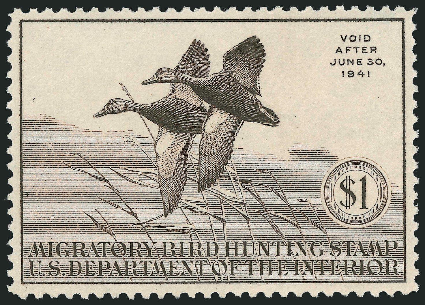 US Stamp Value Scott RW7: US$1.00 1940 Federal Duck Hunting. Robert Siegel Auction Galleries, Mar 2012, Sale 1019, Lot 1081