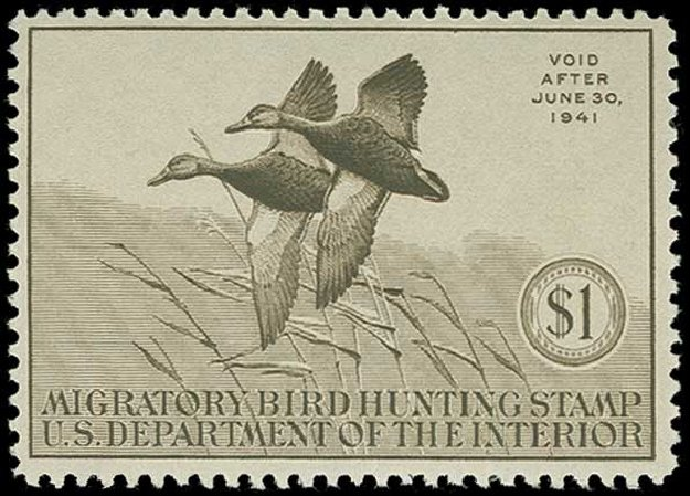 US Stamps Prices Scott Cat. #RW7 - 1940 US$1.00 Federal Duck Hunting. H.R. Harmer, Jun 2015, Sale 3007, Lot 3594