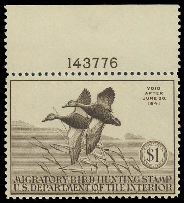 US Stamp Values Scott Cat. #RW7: 1940 US$1.00 Federal Duck Hunting. Daniel Kelleher Auctions, Aug 2012, Sale 631, Lot 1864