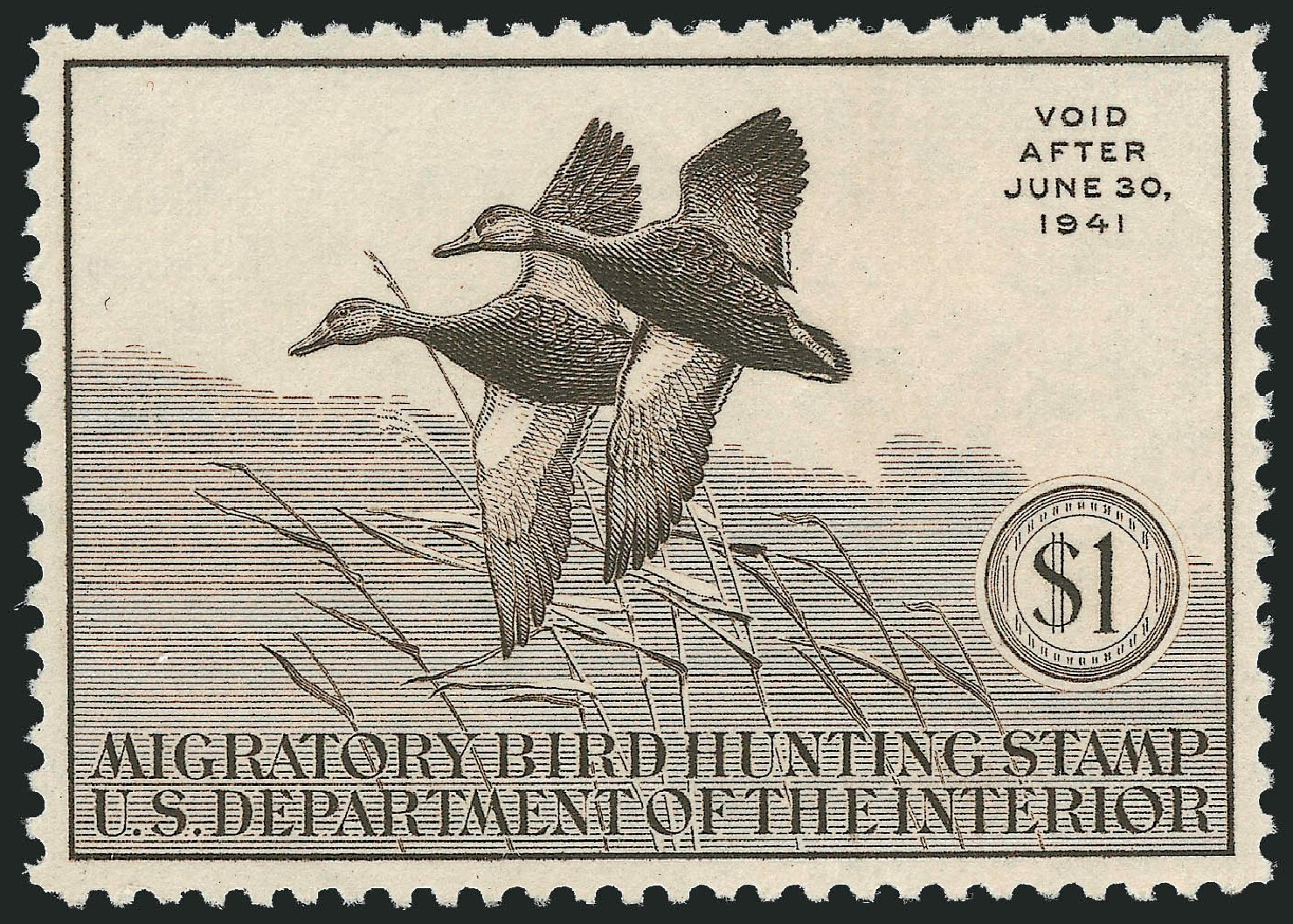 Cost of US Stamps Scott Catalogue # RW7 - US$1.00 1940 Federal Duck Hunting. Robert Siegel Auction Galleries, Dec 2010, Sale 1000, Lot 1334