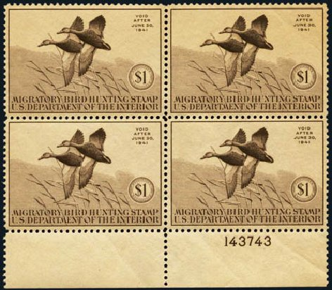 Costs of US Stamp Scott Catalogue #RW7 - 1940 US$1.00 Federal Duck Hunting. Harmer-Schau Auction Galleries, Jan 2013, Sale 96, Lot 762