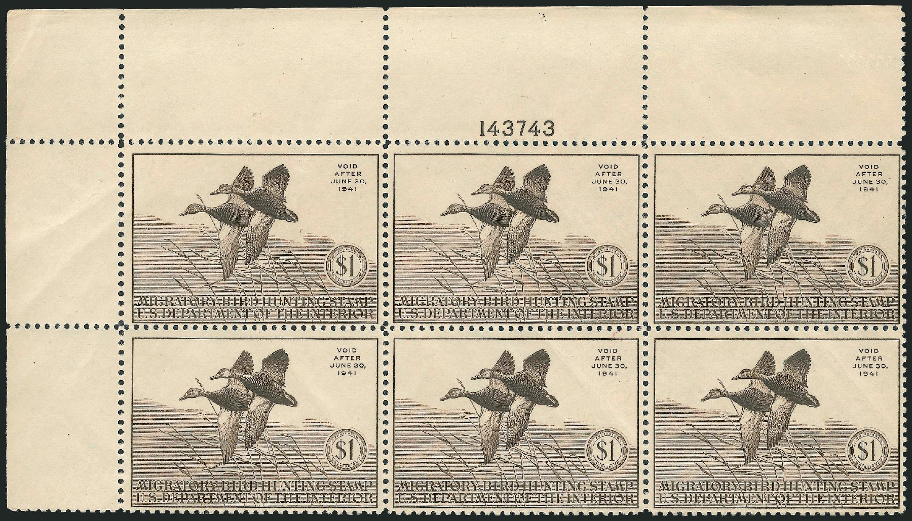 Values of US Stamp Scott Catalogue RW7 - 1940 US$1.00 Federal Duck Hunting. Robert Siegel Auction Galleries, Oct 2010, Sale 997, Lot 6632
