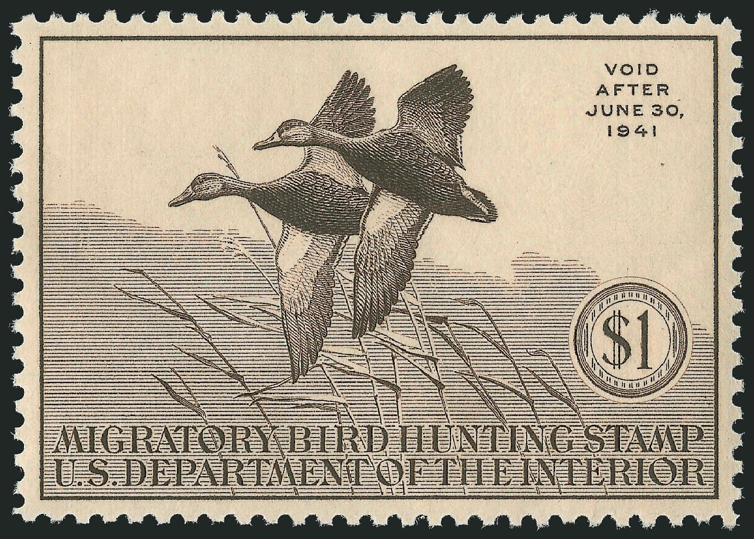 Value of US Stamp Scott Catalogue # RW7: US$1.00 1940 Federal Duck Hunting. Robert Siegel Auction Galleries, Mar 2013, Sale 1040, Lot 2243