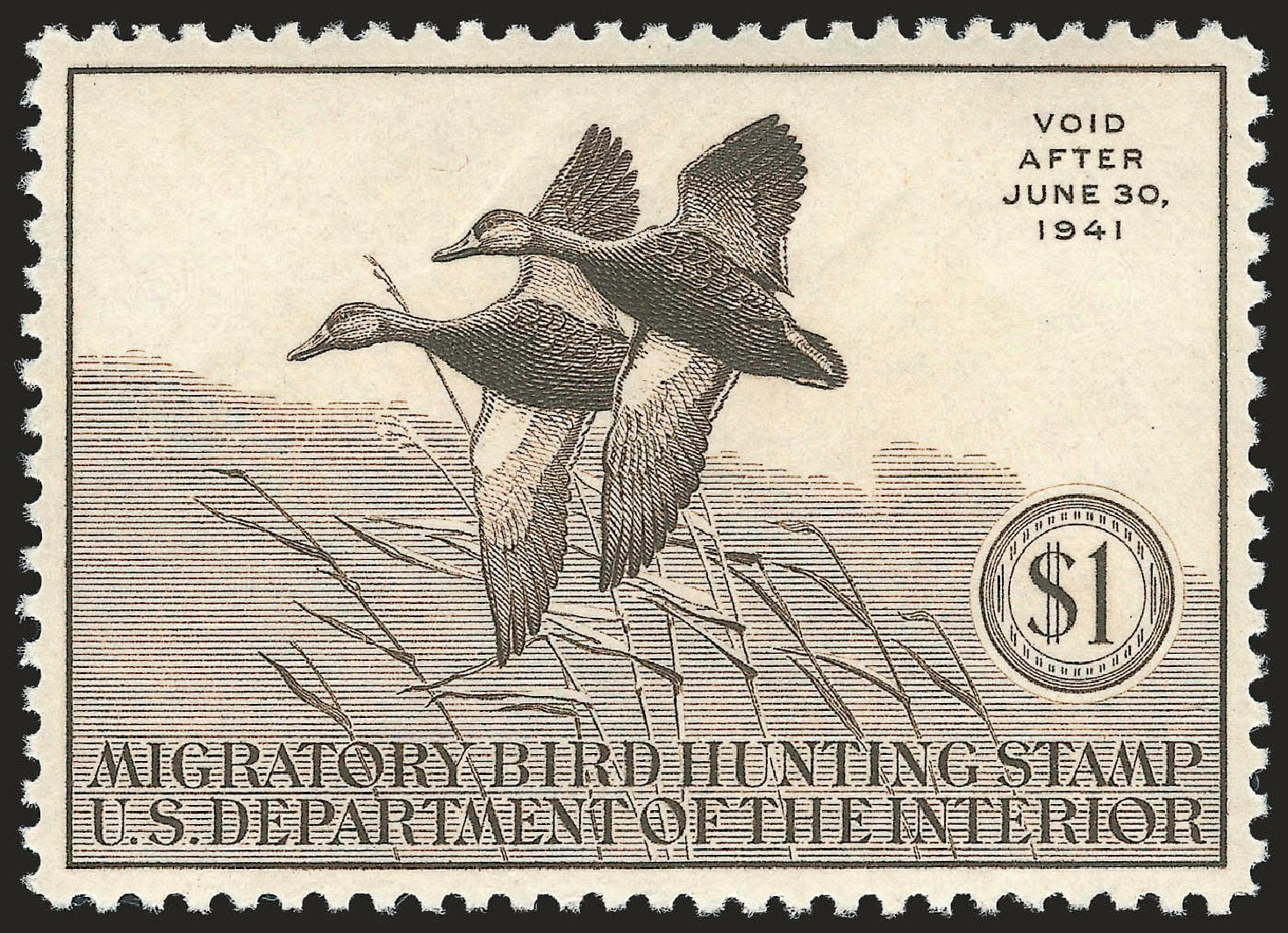 US Stamp Prices Scott Catalog RW7: 1940 US$1.00 Federal Duck Hunting. Robert Siegel Auction Galleries, Apr 2010, Sale 984, Lot 1226
