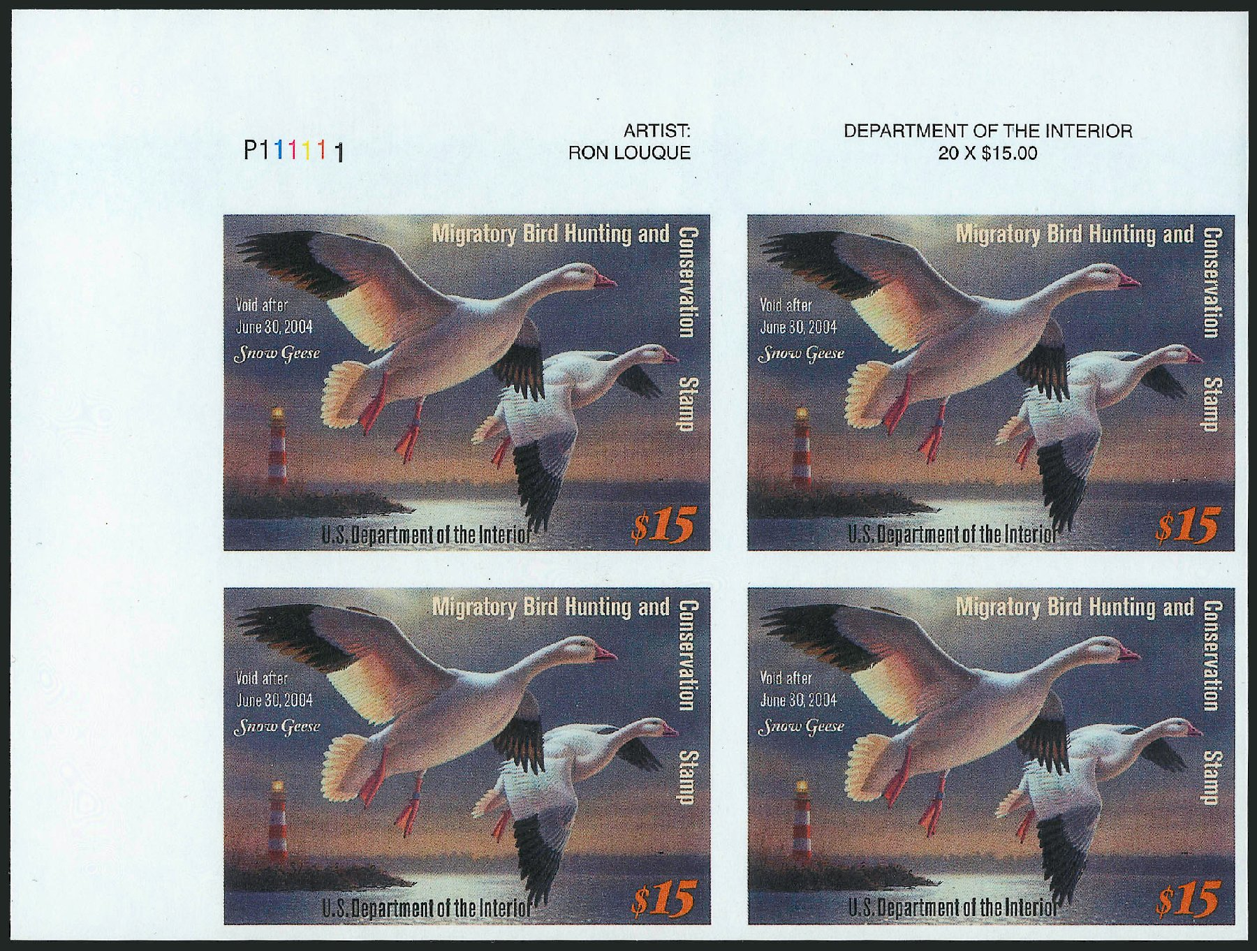 US Stamp Prices Scott Cat. RW70: US$15.00 2003 Federal Duck Hunting. Robert Siegel Auction Galleries, Dec 2010, Sale 1000, Lot 1344