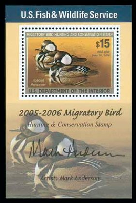 US Stamp Values Scott # RW72: US$15.00 2005 Federal Duck Hunting. Matthew Bennett International, Dec 2007, Sale 325, Lot 2717