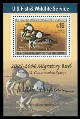 US Stamp Values Scott # RW72: US$15.00 2005 Federal Duck Hunting. Matthew Bennett International, Dec 2007, Sale 325, Lot 2717