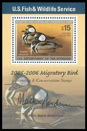 Costs of US Stamps Scott Catalog # RW72: 2005 US$15.00 Federal Duck Hunting. Matthew Bennett International, Dec 2007, Sale 325, Lot 2718