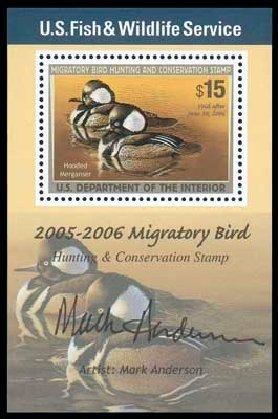 Costs of US Stamps Scott Catalog # RW72: 2005 US$15.00 Federal Duck Hunting. Matthew Bennett International, Dec 2007, Sale 325, Lot 2718