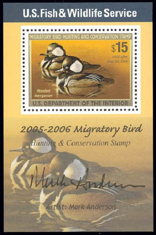 Value of US Stamps Scott Catalog RW72 - 2005 US$15.00 Federal Duck Hunting. Daniel Kelleher Auctions, Feb 2013, Sale 634, Lot 449