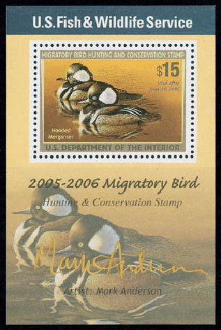 US Stamps Prices Scott #RW72: US$15.00 2005 Federal Duck Hunting. Matthew Bennett International, Jun 2008, Sale 328, Lot 1451