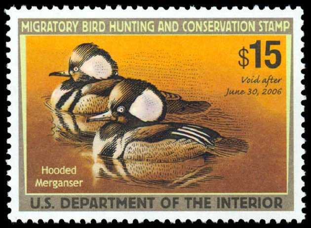 US Stamp Value Scott Catalog RW72: US$15.00 2005 Federal Duck Hunting. Daniel Kelleher Auctions, May 2014, Sale 653, Lot 2384