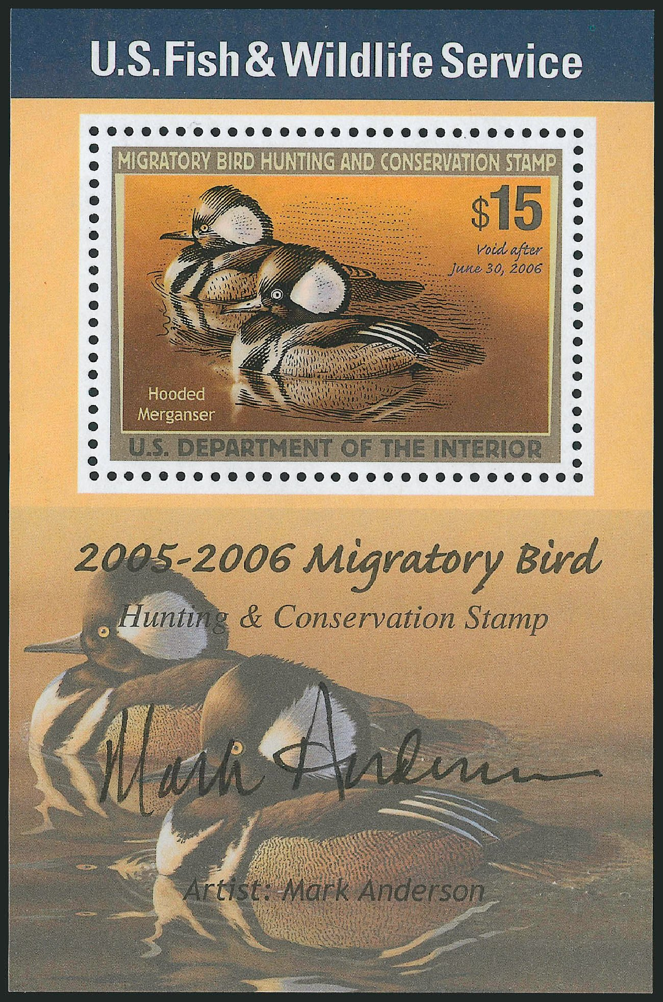 Cost of US Stamp Scott Cat. RW72 - US$15.00 2005 Federal Duck Hunting. Robert Siegel Auction Galleries, Mar 2011, Sale 1007, Lot 3204