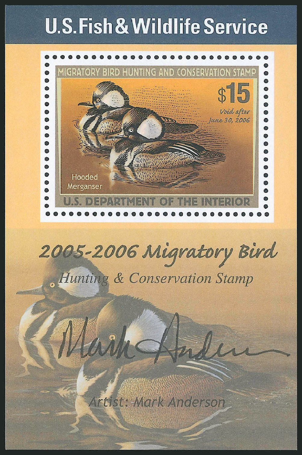 Prices of US Stamp Scott Catalogue # RW72 - US$15.00 2005 Federal Duck Hunting. Robert Siegel Auction Galleries, Mar 2013, Sale 1040, Lot 2254