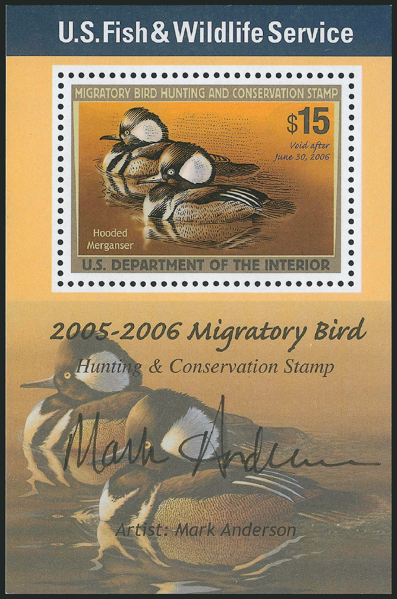 US Stamps Value Scott Catalogue #RW72: 2005 US$15.00 Federal Duck Hunting. Robert Siegel Auction Galleries, Mar 2011, Sale 1007, Lot 3205