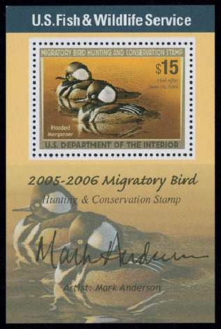 Cost of US Stamps Scott Catalog #RW72 - US$15.00 2005 Federal Duck Hunting. Matthew Bennett International, Jun 2008, Sale 328, Lot 1452