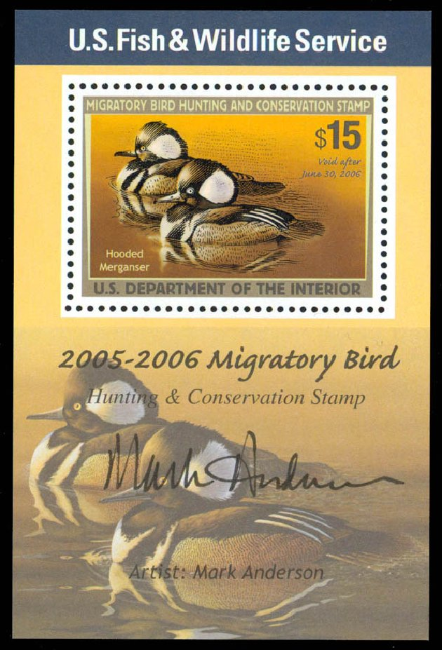 US Stamps Prices Scott #RW72 - US$15.00 2005 Federal Duck Hunting. Daniel Kelleher Auctions, Sep 2013, Sale 639, Lot 542