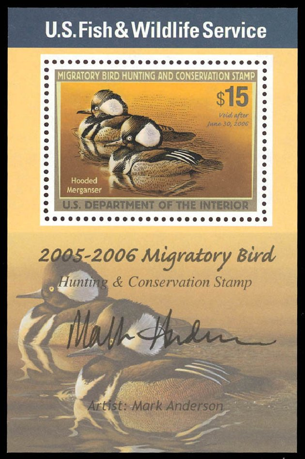 US Stamp Values Scott Catalogue RW72: US$15.00 2005 Federal Duck Hunting. Daniel Kelleher Auctions, Aug 2012, Sale 631, Lot 1873