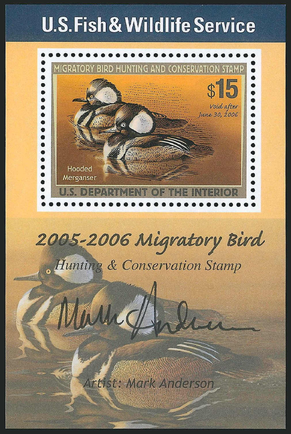 Values of US Stamp Scott Catalog # RW72 - US$15.00 2005 Federal Duck Hunting. Robert Siegel Auction Galleries, Apr 2014, Sale 1068, Lot 456