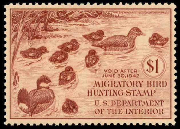 US Stamp Prices Scott Catalogue # RW8 - 1941 US$1.00 Federal Duck Hunting. Daniel Kelleher Auctions, May 2014, Sale 653, Lot 2348