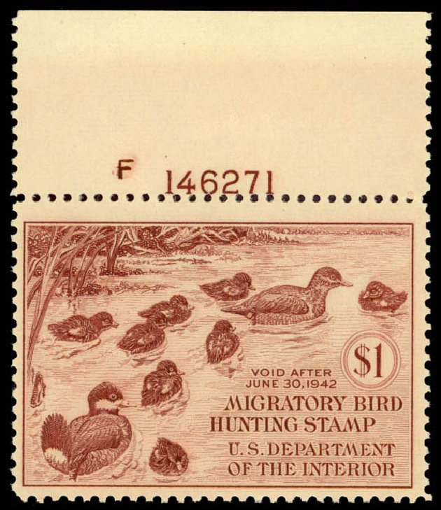 US Stamp Values Scott Cat. RW8: 1941 US$1.00 Federal Duck Hunting. Daniel Kelleher Auctions, Aug 2015, Sale 672, Lot 3108