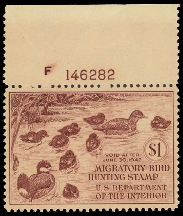 Values of US Stamps Scott # RW8 - 1941 US$1.00 Federal Duck Hunting. Daniel Kelleher Auctions, Jun 2012, Sale 630, Lot 2169