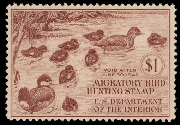 Costs of US Stamp Scott Cat. #RW8: US$1.00 1941 Federal Duck Hunting. Daniel Kelleher Auctions, May 2015, Sale 669, Lot 3580