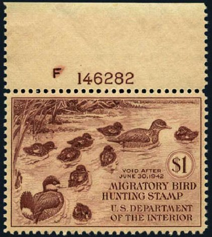 Prices of US Stamps Scott Catalog # RW8: 1941 US$1.00 Federal Duck Hunting. Harmer-Schau Auction Galleries, May 2012, Sale 93, Lot 511